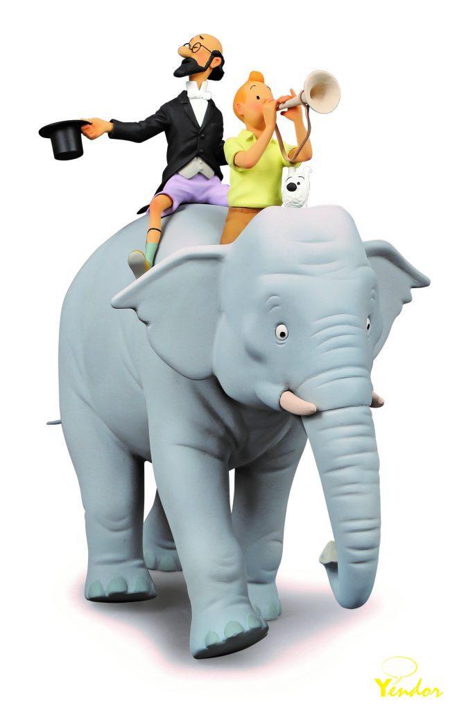 Kuifje op een olifant -
